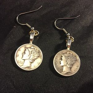 Jewelry - Silver Mercury Dimes on Sterling earrings
